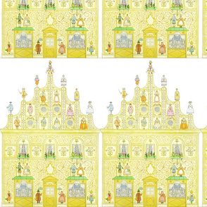 castles mansion filigree stars children umbrellas renaissance history historical baroque classical Victorian birds flowers floral Tricorne soldiers bows royalty gowns court nobles nobleman noblewoman lady  in waiting officials swords umbrellas farmers pea