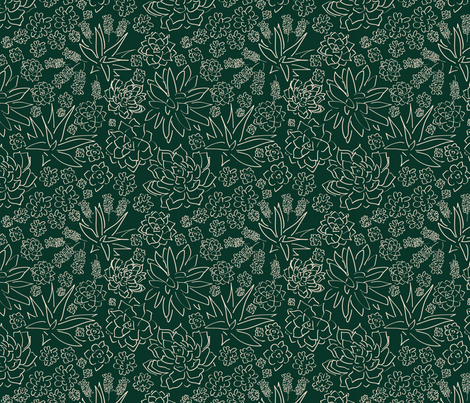Succulent Garden - Dark Green fabric by whyitsme_design on Spoonflower - custom fabric