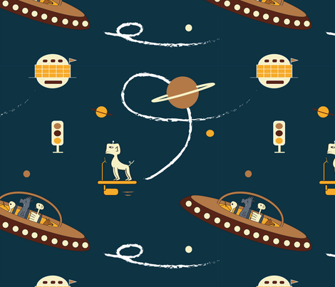 Outer space navy blue aliens spaceship fabric for Spaceship fabric