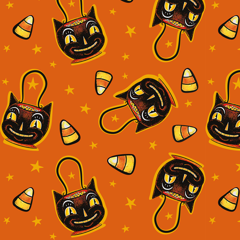 Trick_or_Treat_Black_Cat fabric by johannaparkerdesign on Spoonflower - custom fabric