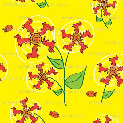 Doxie Flower - Yellow - Dachshund