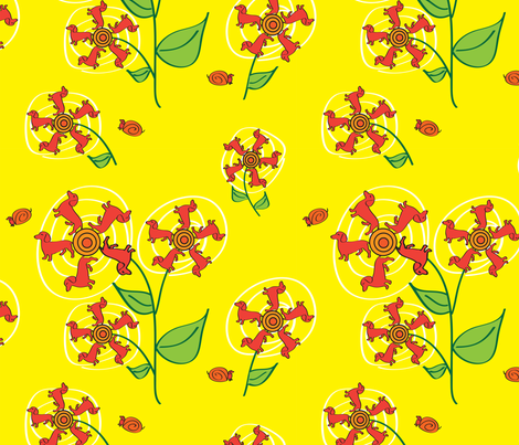 Doxie Flower - Yellow - Dachshund fabric by whyitsme_design on Spoonflower - custom fabric