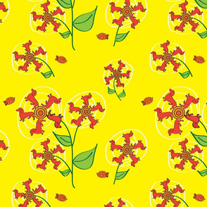 Doxie Flower - Yellow - Dachshund