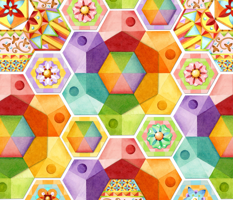 Rainbow Hexagons Patchwork fabric by patriciasheadesigns on Spoonflower - custom fabric