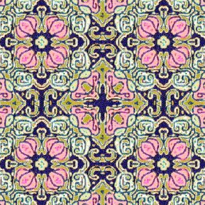 Traditional Tulip Tapestry, Pink and Ecru