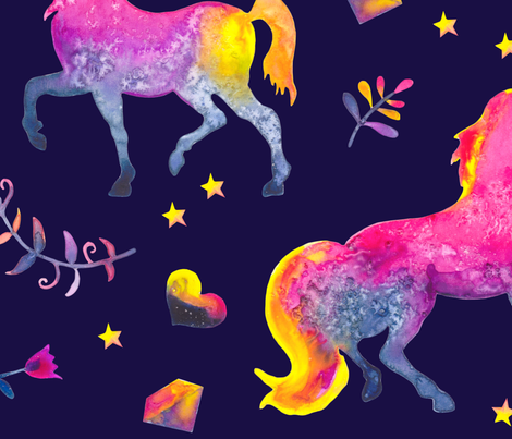 Midnight Unicorn Jubilee Large fabric by gingerlique on Spoonflower - custom fabric