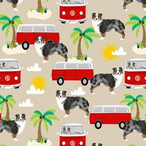 Australian Shepherd beach surfing dog fabric pattern