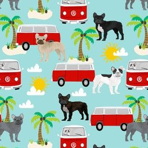 French Bulldog beach summer surfing dog fabric pattern