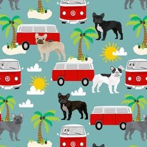French Bulldog beach mini bus hippie surfing dog fabric pattern summer