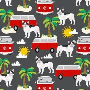 French Bulldog beach mini bus hippie surfing dog fabric pattern charcoal