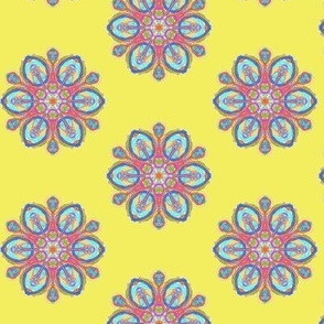 Fancy Fantasy Flowers on Banana Yellow