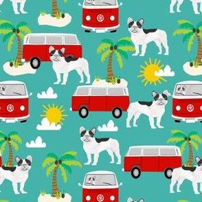 French Bulldog beach mini bus hippie surfing dog fabric pattern turqouise