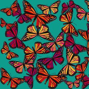 Warm Monarchs on Aqua