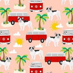 French Bulldog beach mini bus hippie surfing dog fabric pattern