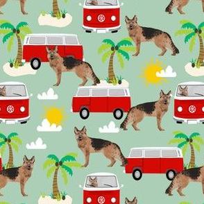 German Shepherd beach mini bus hippie surfing dog fabric pattern light green