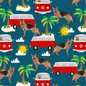 German Shepherd beach mini bus hippie surfing dog fabric pattern sapphire