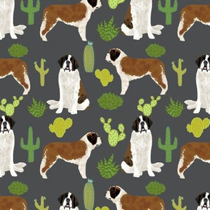 Saint Bernard dog breed pattern fabric cactus cacti 2