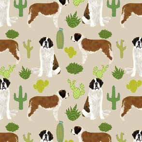 Saint Bernard dog breed pattern fabric cactus cacti 3