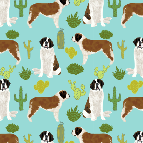 Saint Bernard dog breed pattern fabric cactus cacti fabric by petfriendly on Spoonflower - custom fabric
