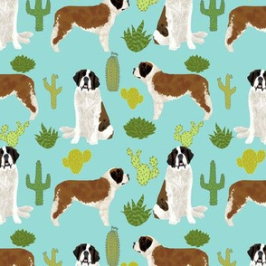 Saint Bernard dog breed pattern fabric cactus cacti