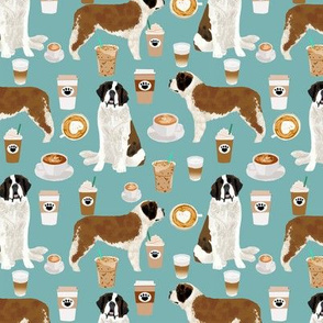 Saint Bernard dog breed pattern fabric coffee latte  2