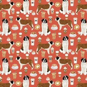 Saint Bernard dog breed pattern fabric coffee latte  3