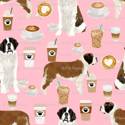 Saint Bernard dog breed pattern fabric coffee latte