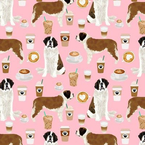 Saint Bernard dog breed pattern fabric coffee latte