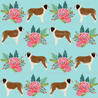 Saint Bernard dog breed pattern fabric floral bouquet 2