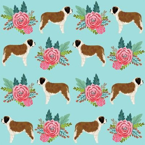 Saint Bernard dog breed pattern fabric floral bouquet 2