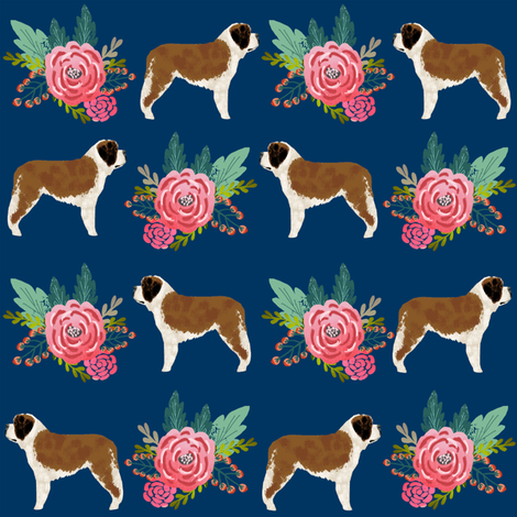 Saint Bernard dog breed pattern fabric floral bouquet fabric by petfriendly on Spoonflower - custom fabric