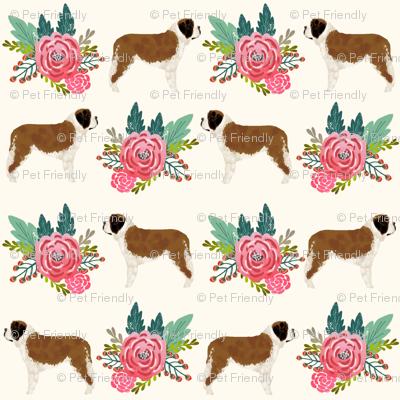 Saint Bernard dog breed pattern fabric floral bouquet