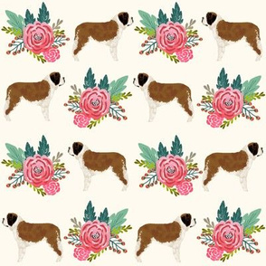 Saint Bernard dog breed pattern fabric floral bouquet