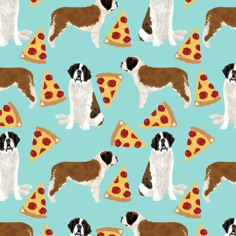 Saint Bernard dog breed pattern fabric pizza slices fabric by petfriendly on Spoonflower - custom fabric