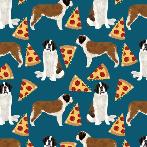 Saint Bernard dog breed pattern fabric pizza slices fabric by petfriendly on Spoonflower - custom fabric