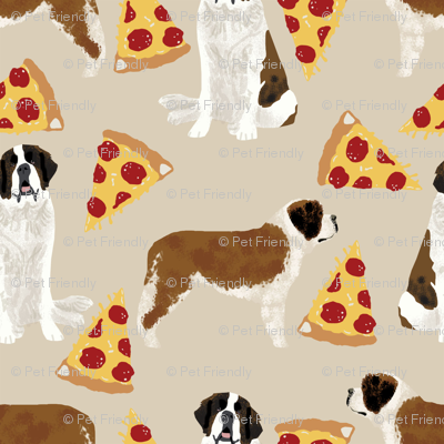 Saint Bernard dog breed pattern fabric pizza slices