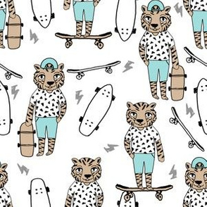tiger skateboard fabric // skate kids boys fabric childrens illustration fabric andrea lauren - light blue