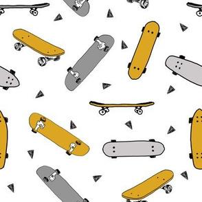 skateboard fabric // mustard yellow and grey skate skater design andrea lauren fabric