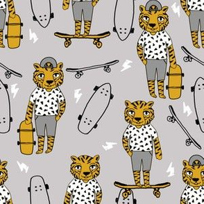 tiger skateboard fabric // skate kids boys fabric childrens illustration fabric andrea lauren - mustard and grey