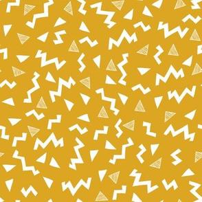 80s fabric //  zig zag 90s retro kids design - mustard