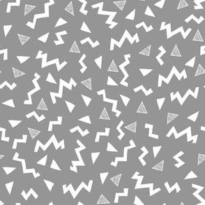80s fabric //  zig zag 90s retro kids design - grey