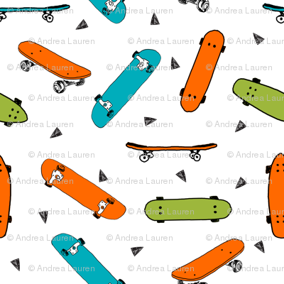 skateboard fabric // turquoise orange and lime skate skater design andrea lauren fabric