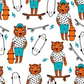 tiger skateboard fabric // skate kids boys fabric childrens illustration fabric andrea lauren - orange and turquoise