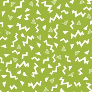 80s fabric //  zig zag 90s retro kids design  lime green
