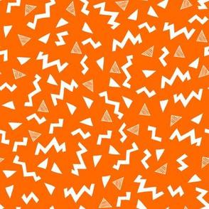 80s fabric //  zig zag 90s retro kids design - orange