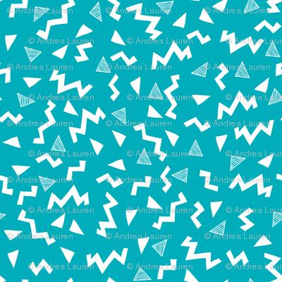 80s fabric zig zag 90s retro kids design turquoise for Retro kids fabric