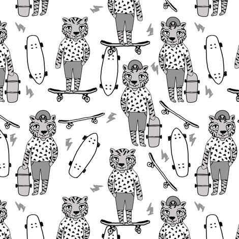 tiger skateboard fabric // skate kids boys fabric childrens illustration fabric andrea lauren - grey fabric by andrea_lauren on Spoonflower - custom fabric