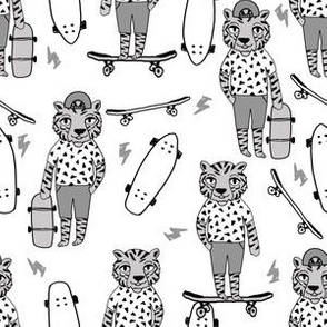 tiger skateboard fabric // skate kids boys fabric childrens illustration fabric andrea lauren - grey