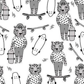 tiger skateboard fabric // skate kids boys fabric childrens illustration fabric andrea lauren - grey