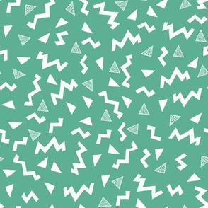 80s fabric //  zig zag 90s retro kids design - green